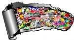 Ripped Open Gash Torn Metal Design With Sticker Bomb JDM Style Icons Motif External Vinyl Car Sticker 140x75mm